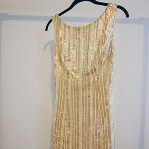 Gold sequin low back mini dress